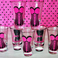 20 Personalized sexy corset shot glasses.Great for bachelorette and wedding parties.