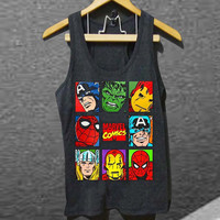 Marvelelous Superhero Lineup Captain America Spiderman Hulk Iron Man Thor for Tank top Mens and Tank top Girls customized