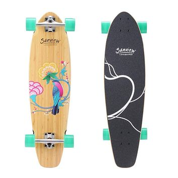 "SANVIEW Short Bamboo Longboard Skateboard Cruiser for Kids Adults 34""/Bird"