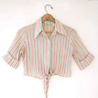 vintage cropped belly shirt / spring top