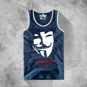 Printed V for Vendetta Vest Men Tank Tops Sleeveless Cotton Casual T-shirt Cosplay Novelty Personality