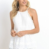 Southern Charm Eyelet Lace Peplum Top