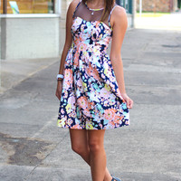 Floral Mesh Have Dress {Navy}