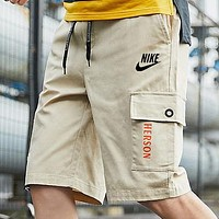 NIKE New Fashion Embroidery Letter Hook Print Shorts Khaki