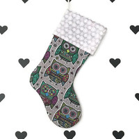 Owl Christmas stocking Sugar skull owl Christmas stocking Holiday decor Snowflake Christmas stocking Christmas owl stocking Robynhoodink
