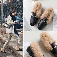 Women Retro Fashion Casual Leather Plush Half Drag Slippers Flats Shoes
