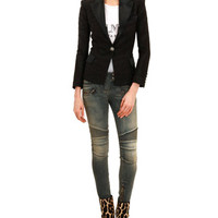 Balmain One-Button Satin Trimmed Jacket, Sleeveless Logo T-Shirt with Shoulder Buttons & Skinny Moto Jeans