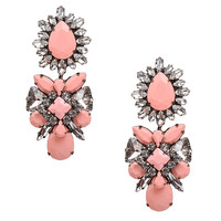 Exaggerate Rhinestone Crystal Floral Bib Chunky Fashion Pendant Earrings