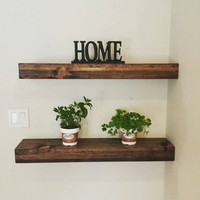 Rustic Reclaimed Floating Shelf.