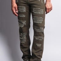 Men's Destroyed Taper Fit Colored Jeans