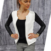 Casual Color Block Pu Leather Long Sleeve Jacket