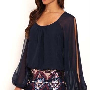 Long Sleeve Blouson Dress with Aztec Sequin Banded Skirt
