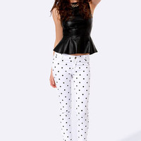 Penny for Your Dots White Polka Dot Jeggings