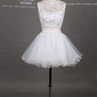 2014 White Round Neck Beading Lace Puffy Mini Short Homecoming Dress/Sexy Hollow Short Prom Dress/Ball Gown Cocktail Dress DH226