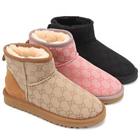 UGG GUCCI GG low-top stitching color men's and women's boots Shoes