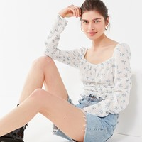 UO Bouquet Square-Neck Smocked Top | Urban Outfitters