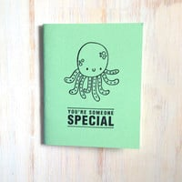 Medium Notebook: Octopus, Cute, Sea, Green, Wedding, Favor, Journal, Blank, Unlined, Unique, Gift, Small, Notebook, For Her, For Him