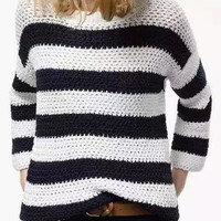 Black and White Knit Fall Fashion Sweater