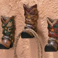 3 Cowboy Boots Western Coat Towel Wall Hooks Home Decor