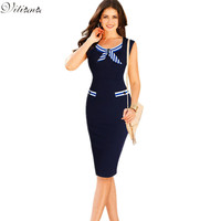 2017 New Womens Sexy Elegant  Casual Party Pencil Dresses Bowknot Pinup Wear to Work Business Sheath Bodycon Dress