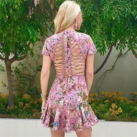 Summer Dress 2017 Woman Sexy cutout cross bandage Pink Floral Printed fish tail Mini Party Dress Short mermaid vestido de festa