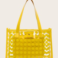 Yellow Polka Dot Clear Tote Bag With Inner Clutch
