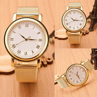 Factory Price, Lady Womens Wristwatches Gold Stainless Steel Round Dial Analog Quartz Wrist Watches