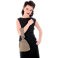 Vintage Olive Green & Gold Metallic Cord Evening Bag Over The Arm 1940s