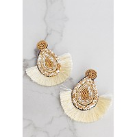 Fringe Statement Earrings Ivory