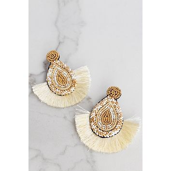 Seed Beads Statement Earrings in Ivory