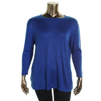 Vince Camuto Womens Plus Knit Ribbed Trim Pullover Sweater
