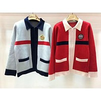 Miu Miu New fashion embroidery letter long sleeve coat cardigan coat