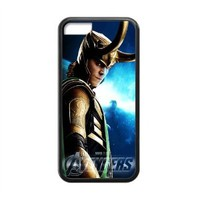 Loki Tom Hiddleston The Avengers Custom Design Snap on Rubber Silicone One Piece Apple iPhone 5C (Laser Technology) Case Cover