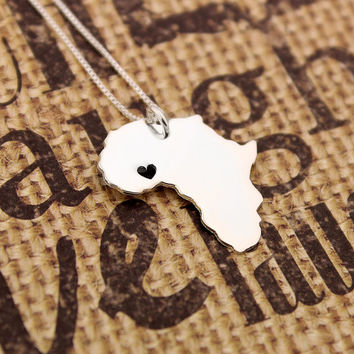 Africa necklace sterling silver Africa Shape necklace with heart comes with Box style chain - Love Africa  (org2)
