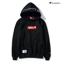 """""""Supreme""""""""Champion""""Contracted hooded sweater Black"""