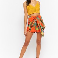 Tie-Front Tropical Print Shorts