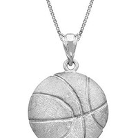 "Sterling Silver Basketball Necklace Pendant with 18"" Box Chain"