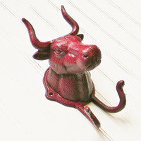 Cast Iron Bull Coat Hook - Choose Your Color - Colorful Cast and Crew