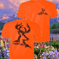 Country Life Outfitters Orange Zebra Deer Head Hunt Vintage Unisex Bright T Shirt
