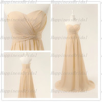 Custom A-line Sweetheart Floor-length Chiffon Pleat Long Bridesmaid Dress Prom Dress Formal Evening Dress Party Dress Cocktail Dress 2013