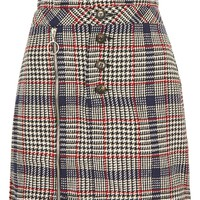 Checked Button Zip Mini Skirt - New In Fashion - New In