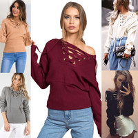 Deep V sexy strapless sweater female chest strap