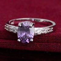 Sterling Silver Ring with Gorgeous Purple Oval CZ