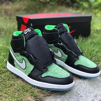 Nike Air Jordan 1 High Zoom Rage Green Men and Women's Basketball Shoes Sneakers