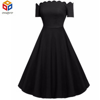 Elegant Vestido Black Women Wave Point 1950s 60s Audrey Hepburn Dress Vintage Swing Party Off Shoulder Rockabilly Pinup Dress