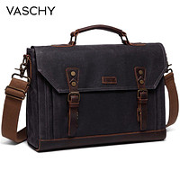 VASCHY Canvas Messenger Bag for Men Vintage Bag Crossover Bag Waxed Canvas Briefcase for Men 2 sizes to Choose from for Laptop Fit Office Bags for Men FREE SHIPPING