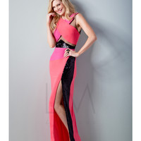 LM by Mignon LM1494 Pink Multi Color Cut-Out Block Dress 2015 Prom Dresses