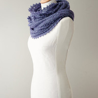Silk knitted cowl, luxurious möbius scarf, wool loop scarf, snood, knitted wrap, purple colour hand dyed yarn 'Tuck'
