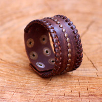 Brown Studded Leather Bracelet, Unisex Bracelet, Gold Studs Cuff With Clasps