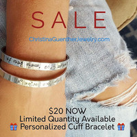 FLASH SUPERSALE - Personalized Cuff Bracelet, Message Cuffs, Hand Stamped Inspirational, Names Intent Words, Christina Guenther